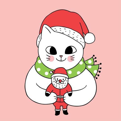 Gato bonito dos desenhos animados e boneca de Papai Noel