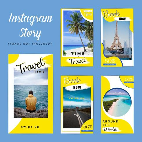 Travel special instagram story pack vector
