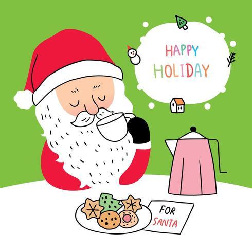 Desenhos Animados Bonitos Natal Papai Noel Bebendo Cafe Download