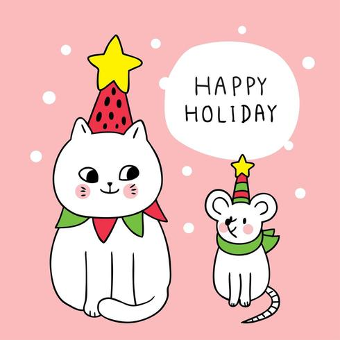 Cartoon cute Christmas cat and mouse
