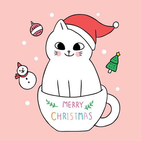 Cartoon cute Christmas cat and coffee cup