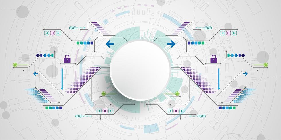 Collegamenti di circuito colorato tecnologia 3D vettore
