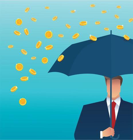 Geschäftsmann, der ein Regenschirmgeld fällt vom Himmel hält vektor
