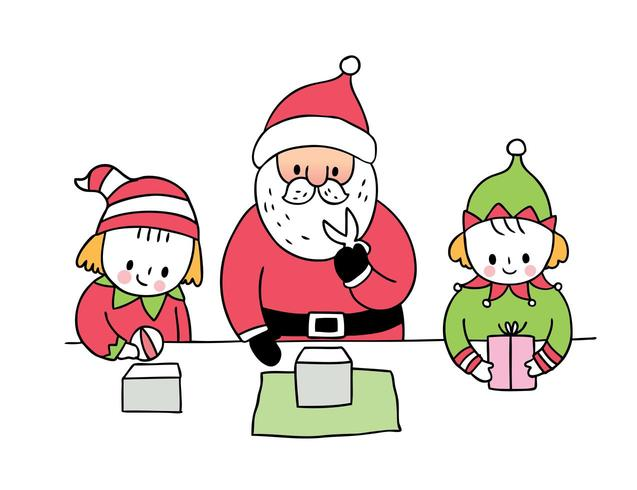 Weihnachtsmann und Elf präsentieren vektor