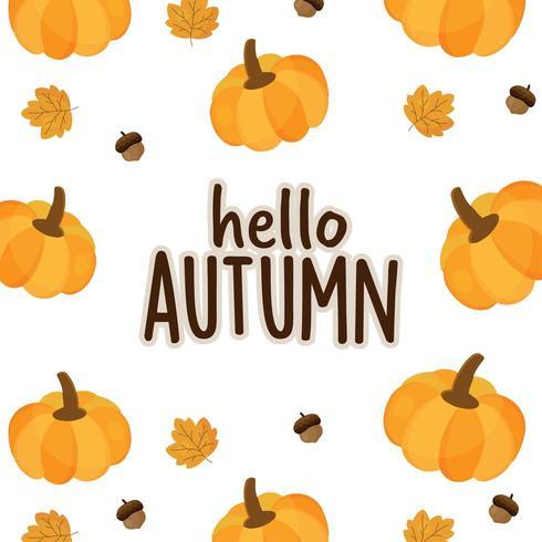 Hola tarjeta de otoño con calabaza, bellota y hoja.