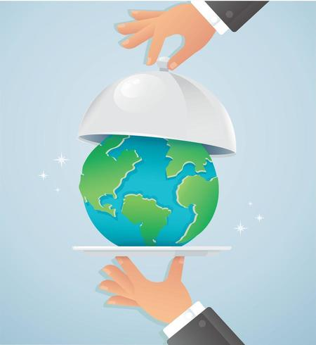 Hands holding silver cloche with earth vector