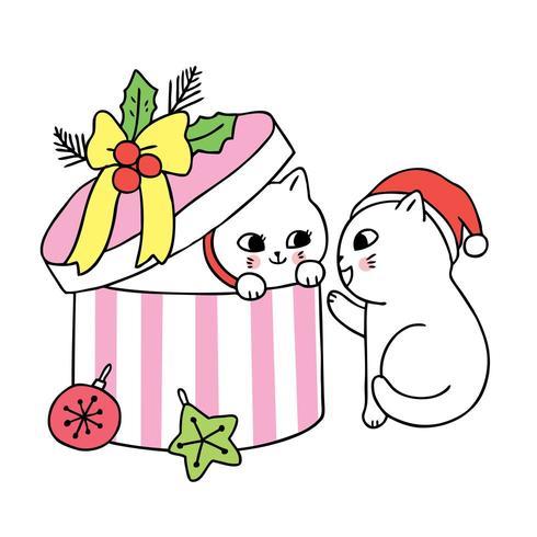 Cartoon süße Weihnachten paar Katzen und Gegenwart vektor