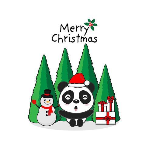 Merry Christmas Greeting Card. Panda and gift box.