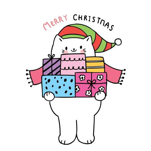 Cartoon cute Christmas Cats and presents