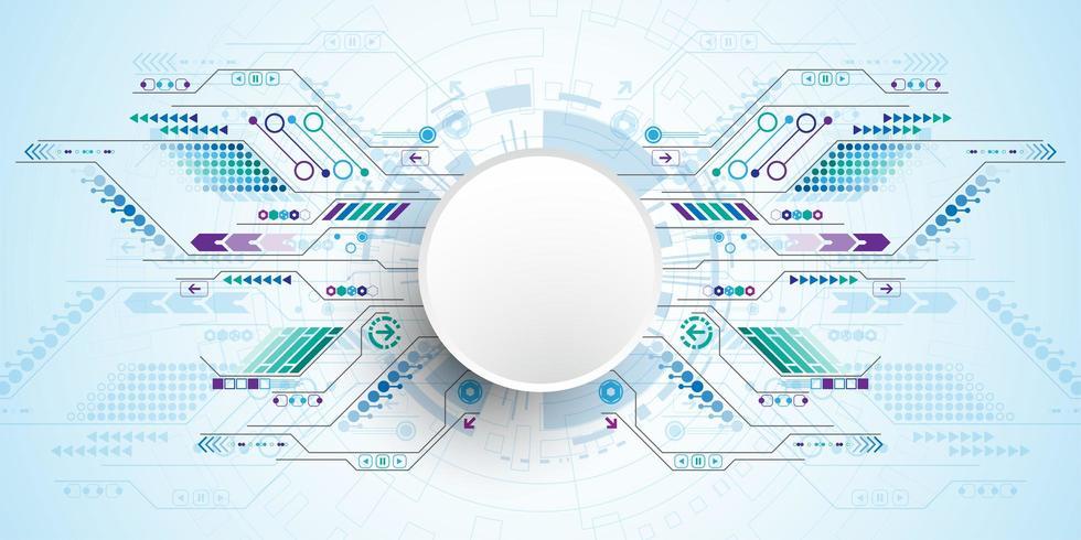 Kreis der Technologie 3d mit Verbindungsstromkreiswegen vektor