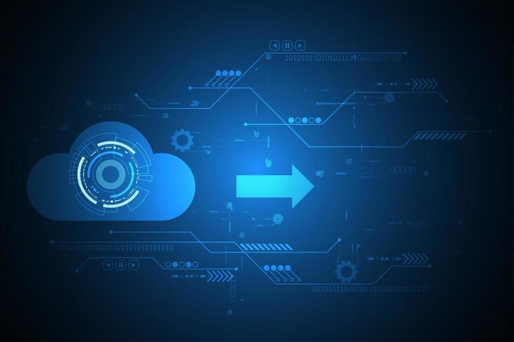 Digital molndesign på blå techbakgrund vektor