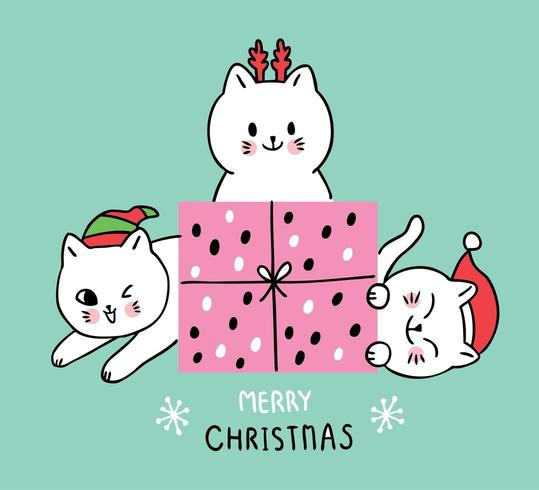 Cartoon cute Christmas  cats and gift