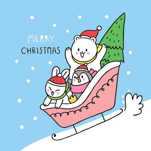 Polar bear and rabbit and penguin playing sleigh