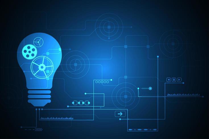 Glödlampa för digital teknik med anslutande linjer vektor