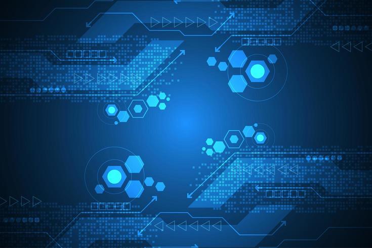 Abstracte digitale tech achtergrond met zeshoeken vector