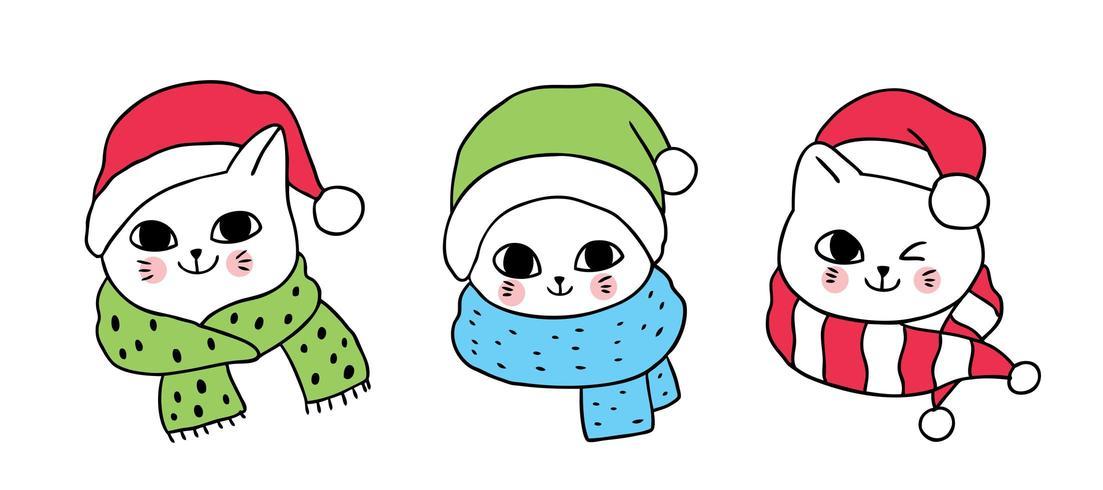 3 Cartoon cute Christmas cats