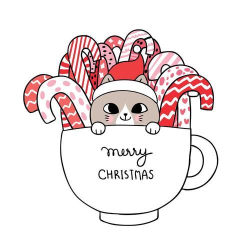 Weihnachtskatze und -süßigkeit in der Schale vektor