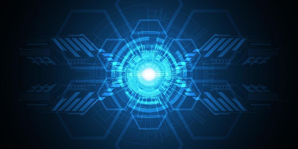 Glowing blue abstract geometric tech shape