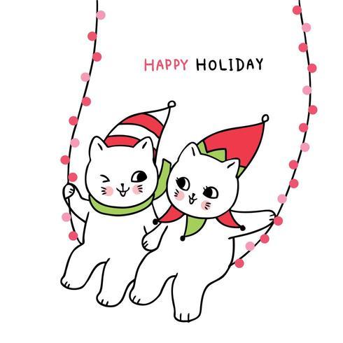 Cartoon süße Weihnachten paar Katzen schwingen Licht vektor