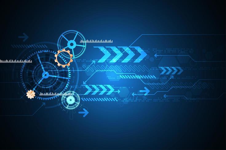 Futuristisches Technologiebild mit Gängen und Pfeilen vektor