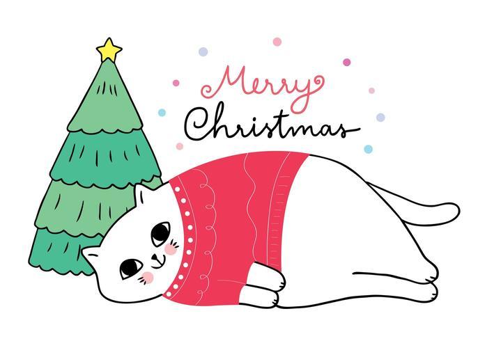 Katze, die das rote Strickjackeschlafen trägt vektor