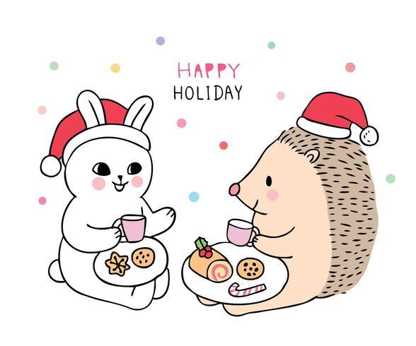 Kaninchen und Igel essen süß vektor