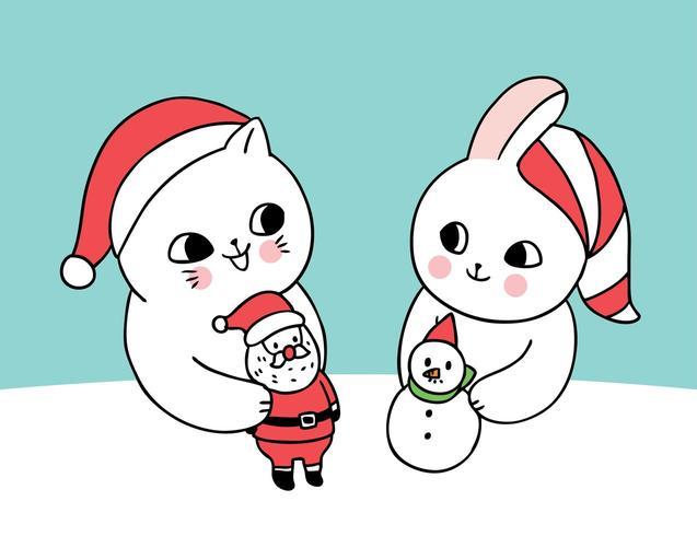Cartoon niedlichen Weihnachtskatze und Kaninchen spielen vektor