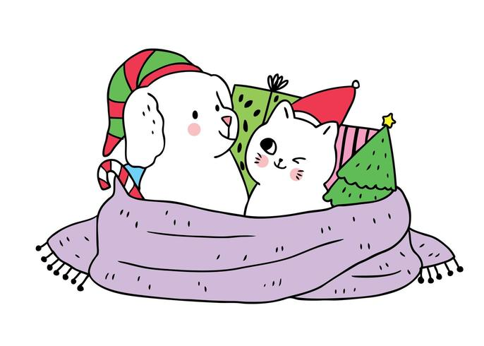 Cartoon cute Christmas Dog and cat and gifts
