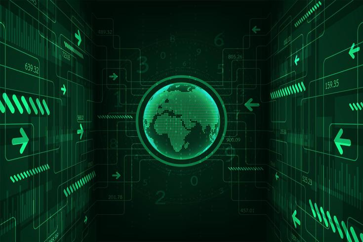 Glühende grüne Technologiekugel Digital mit Pfeilen vektor