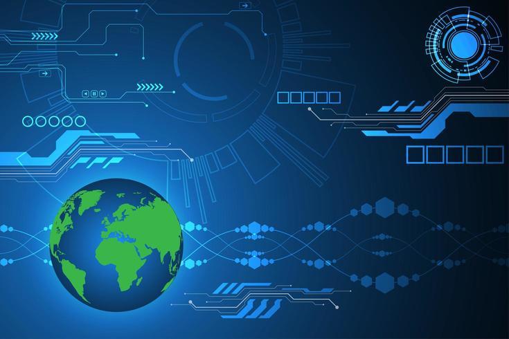 Mappa globale su sfondo display tecnologia digitale vettore