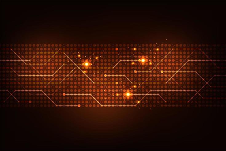 Linee e punti di tecnologia digitale incandescente rossi