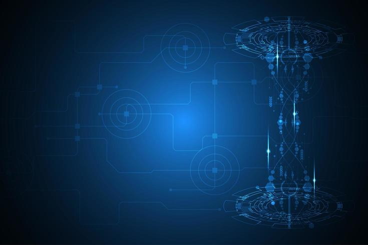 Glühender blauer Hintergrund mit digitaler Form der Technologie 3d vektor