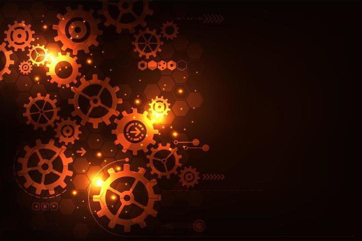 Leuchtende orange und rote Tech-Gänge vektor