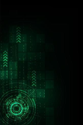 Vertical glowing green tech shapes
