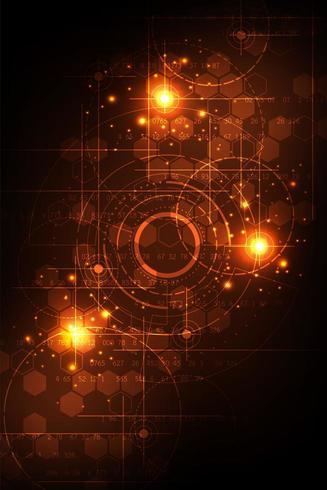 Orange vertikalt futuristiskt techkoncept vektor