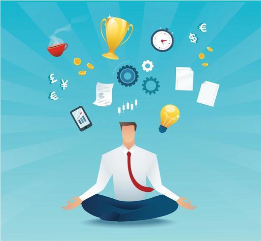 zakenman zitten in lotus houding meditatie