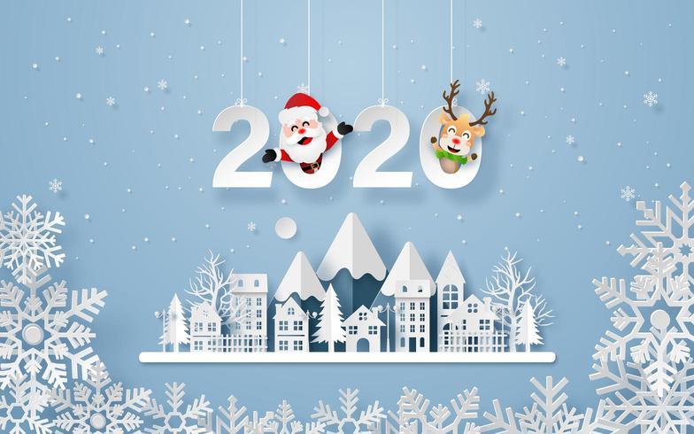 Neues Jahr-Winter-städtische Landschafts-Origami-Art-Postkarte