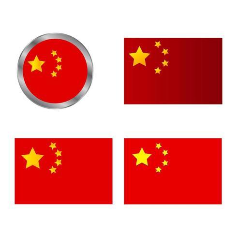 China-Flaggen auf einem weißen Hintergrund vektor