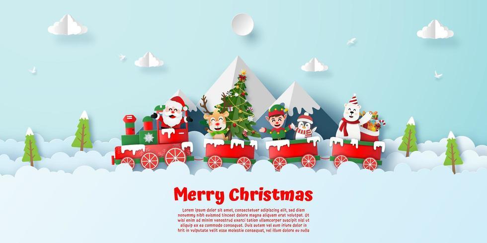 Postal de estilo de origami de tren de feliz Navidad vector