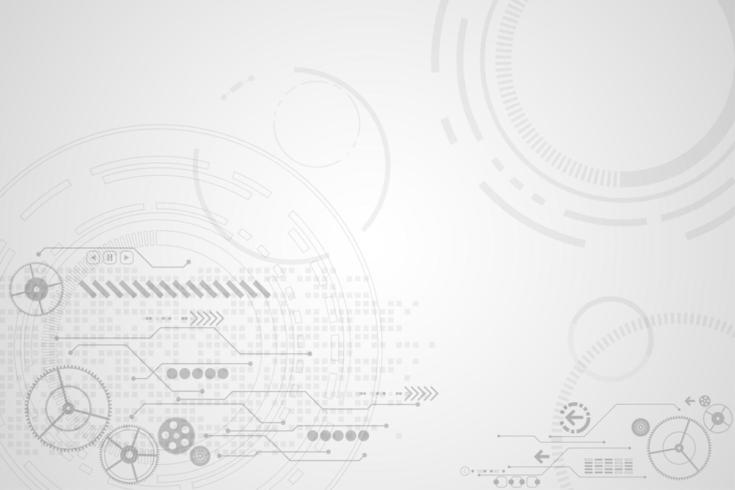 Graues und weißes kreisförmiges digitales Technologiezeichnungskonzept vektor