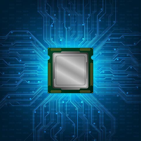 Abstrakt CPU-design med glödande kretskort vektor