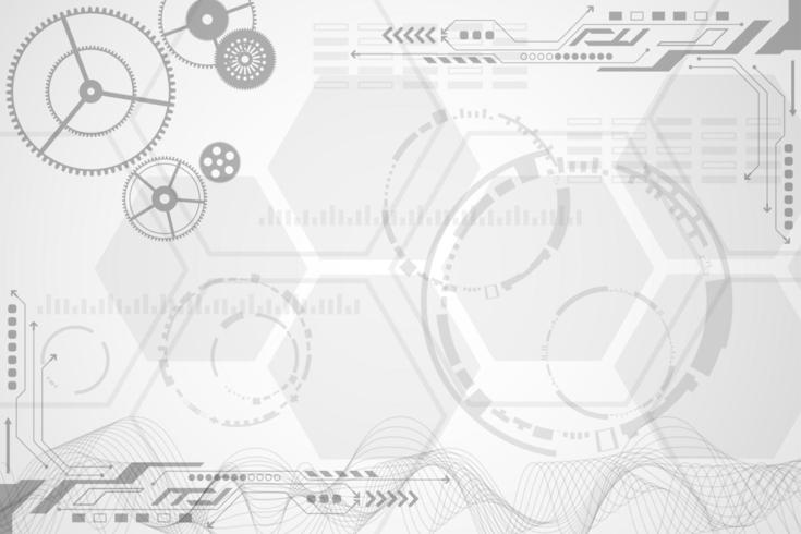 Gray and white overlapping geometric tech shapes design vector