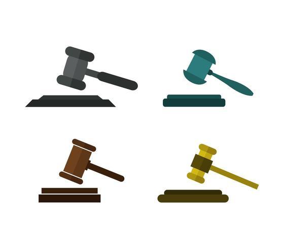 Hammer domare ikonuppsättning på vit bakgrund