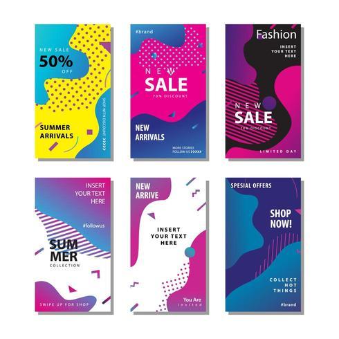 set sale banner background with fluid gradient element vector