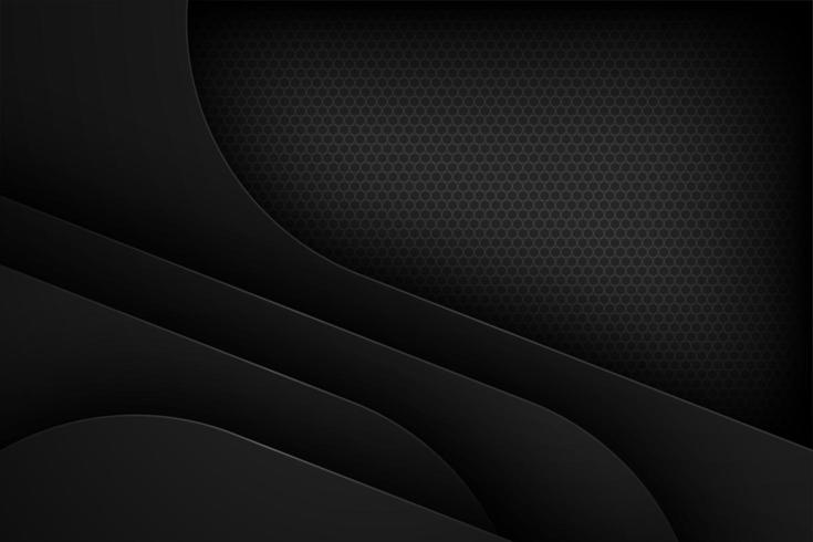 Black overlapping layered 3d paper shape background  vector