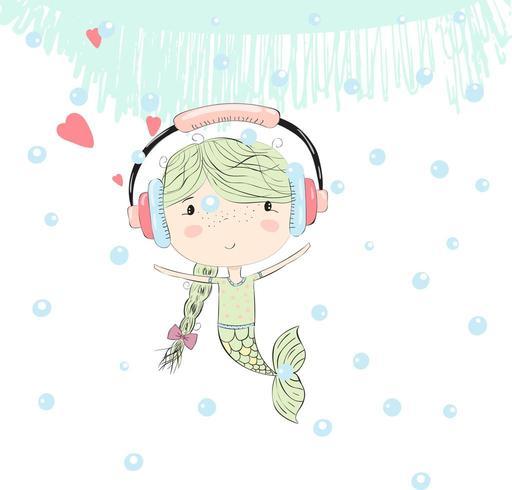 süße kleine Meerjungfrau Mädchen mit Kopfhörern vektor