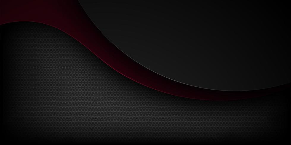 Schwarzer abstrakter dunkelroter und schwarzer überlappender Hintergrund der gebogenen Form