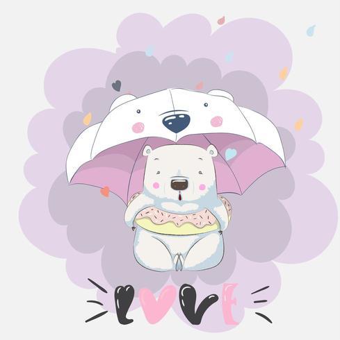 süßer kleiner Bär mit Regenschirm vektor