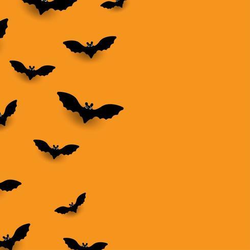 Fledermäuse auf orange Hintergrund vektor