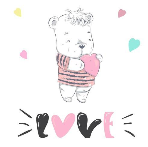 niedlicher kleiner Bär, der Herz hält vektor